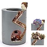 ChasBete Dekorativer Blumentopf mit kleiner Igel-Familie Indoor Niedliche wiederverwendbare Blumentöpfe Hochbelastbares Kunstharz Handwerkskunst Farbige Designs Warme Bilder