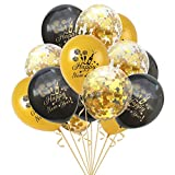Oblique Unique® Konfetti Luftballon Set für Silvester Neujahr Party Feier Deko Ballons 15 Stück Happy New Year Schwarz Gold