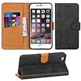 Adicase iPhone 6 Plus Hülle Leder Wallet Tasche Flip Case Handyhülle Schutzhülle für Apple iPhone 6 Plus / 6S Plus 5,5 Zoll (Dunkelgrau)