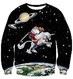 Uideazone Collagen-Galaxie-Weihnachtsbekleidungs-3D-Druck Lustige Spitzenschwarzes,Asia XL= EU L