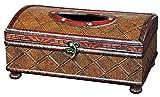 Vintiquewise Taschentuchbox aus Holz, Antik-Optik, Kirschrot