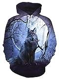uideazone Unisex Kapuzen-Sweatshirt, 3D Bedruckt, Fleece, Kapuzenpullover mit großen Taschen