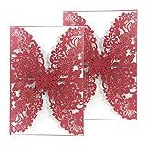 50Einladungskarten aus Papier mit lasergeschnittenem Schmetterlings- und Blumenmuster, als Hochzeitseinladung oder für Verlobung, Geburtstag, Abschluss oder Babyparty rot