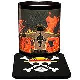 Magie Tassen Farbwechsel One Piece Ace Kaffeebecher Wärme Reaktiver Becher und Untersetzer