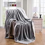 NANPIPER Fleecedecke Decke Hellgrau - Flauschige Kuscheldecke Flanell Lammfell Tagesdecke für Wohnzimmer Schlafzimmer Wolldecke Atmungsaktiv, 1 Stück B 150 x H 200 cm