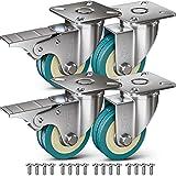GBL - 4 Möbelrollen und Schrauben 50mm 140KG Transportrollen Lenkrollen mit Bremse Schwerlastrollen Rollen für Möbel