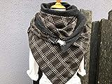 Tuecherfee/XXL Tuch/Jumbo in grau/weiß Karo mit grauen Fleece/Jumbo / Halstuch mit Verschluss/Tuch / große Tücher