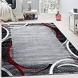 Paco Home Wohnzimmer Teppich Bordüre Kurzflor Meliert Modern Hochwertig Grau Schwarz Rot, Grösse:120x170 cm
