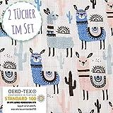 Pucktuch Baby 2er Set 100% OEKO-TEX zertifizierte Baumwolle - Swaddle Blanket - Musselin Puckdecke mit Lamas - ideal als Babydecke, Stilltuch, Spucktuch, Schmusedecke (120x120 cm + 75x75 cm)