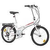 Klapprad Fahrrad Bikesport FOLDING 20 Zoll Shimano 6 GANG (Weiß glänzend rot)
