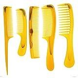 Kunststoff-Barthaarkamm-Set für den Frisörsalon, breite/feine Zinken, bernsteinfarben/orange, für Männer und Frauen, die ganze Familie, 5er-Pack