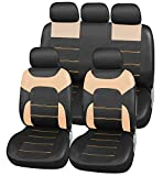 Upgrade4cars Auto-Sitzbezüge Beige Leder-Optik | Universal Auto-Sitzschoner Set für Sommer & Winter | Kunstleder Auto-Schonbezüge für die Vordersitze & Rückbank (B3 Beige)