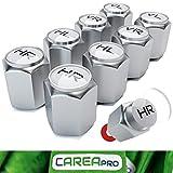 CAREApro® 8x Wheelmarker - Premium Reifenbeschriftung - Elegante und Professionelle Ventilkappen im Chrom Look