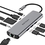USB C Hub ZOETOUCH 9 in 1 Aluminium USB C Adapter mit HDMI 4K,Gigablit Ethernet RJ45,3 USB 3.0,SD/TF Kartenleser,3.5mm Audio Ausgang mit Typ C PD Ladung für Macbook,DELL XPS und mehr Type C Geräte