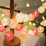 Morbuy Lichterkette mit 20 Baumwollkugeln, Batteriebetrieben Warmweiß Cotton Ball Lichter LED Party Themen Weihnachten Kinderzimmer Nachtlicht Dekorationen Rosa