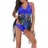 OverDose Damen 2PCS Frauen Blumendruck Übergröße Bikini Set Sommer Bikinis Tankini Swim Kleid Badeanzug Beachwear Gepolsterte Bademode Frauen Plus Size Badeanzüge(Blau,EU44)