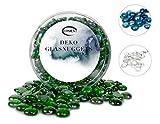 ERMENT-Hübsche Glasnuggets, Glas Dekosteine, Muggelsteine, Vasenfüller - 800 g (Neu) (blau)