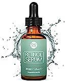 Bionura Retinol Serum - 2,5% Retinol Liefersystem mit 20% Vitamin C & Vegan Hyaluronsäure - Bestes Anti-Aging, Anti Falten Straffendes Serum 2018 für Haut, Gesicht, Dekolleté und Körper