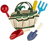 Buntes Gartenspielzeug / Strandspielzeug inkl. praktischer Tragetasche, mit 6 Gartenwerkzeugen sowie 1 Gießkanne