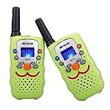 Retevis RT32 Walkie Talkie Kinder 8 Kanäle PMR446 Kinder Funkgeräte mit Taschenlampe Gürtelclip Halsschlaufe VOX Spielzeug Geschenk für Mädchen Junge (1 Paar, Hellgrün)