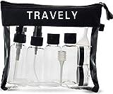 Travely - Transparenter Kulturbeutel 1l - mit Reiseflaschen Set bis 100ml (schwarz)
