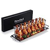 Rawford Hähnchenschenkel Halter mit Platz für 12 Keulen - Hähnchenkeulen Halter für perfekt gegrillte Chicken Wings - Zusammenlegbarer Hähnchenschenkelhalter aus Edelstahl - Leg Roaster (normal Size)