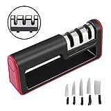 Pathonor Messerschärfer, Messerschleifer Knife Sharpener 3-in-1 Manuelles System für allumfassende Haushaltsmesser für Edelstahl und Keramikmesser Aller Größen, Rutschfestem Unterseite