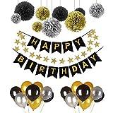 Deko Geburtstag, Geburtstag Dekoration Set,Pomisty Happy Birthday Dekoration 41 Stücks mit 9 Tissue Papier Pom Poms + 30 Große Geperlte Ballons + 1 HAPPY BIRTHDAY Banner für Alle Männer und Frauen