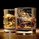Whiskyglas mit Gravur (Totenkopf-Design) | Whiskey-Glas mit massiver Boden personalisierbar mit Namen und Datum | Geschenkidee für wahre Geniesser
