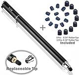 B & D Eingabestift Touchstift 2-in-1 Touch Pen Touchscreen Stift Stylus für Handy, iPads, Smartphone, Tablets, iPhones, Samsung Galaxy Tab mit 20 x Ersatzspitzen(Schwarz, 5,5-Zoll)