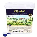 Zitronensäure 5 Kg; reine Premiumqualität, wasserfrei Pulver, NortemBio für ökologischen Produktion.