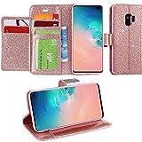 LCHULLE Für Samsung Galaxy S5 Hülle, Galaxy S5 Brieftasche, Glänzend Funkeln Bling PU-Leder Flip Folio Ständer Brieftasche Schutzhülle mit 6 Kartensteckplätze-Roségold
