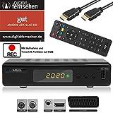 Xaiox Anadol ADX 111c digitaler Full HD Kabel-Receiver [Umstieg Analog auf Digital] inkl HDMI Kabel (HDTV, DVB-C / C2, HDMI, Chinch-Video, Mediaplayer, USB, 1080p) automatische Installation schwarz