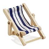 Deko-Liegestuhl, Holz, blau-weißer Stoffsitz, 5 x 3,5 cm