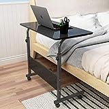 Soges höhenverstellbar Laptoptisch 60 cm Notebooktisch für Bett und Sofa Betttisch Laptoptisch Holz Schwarz 05#1-60BK