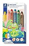 Staedtler 140 C6 ST 3in1 Buntstift buddy (Bunt-, Wachsmal- und Aquarellstift, extra bruchsicher, ideal für Kinder, für viele Oberflächen, Kartonetui mit 6 Farben inkl. Spitzer)