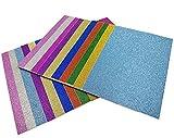 20 Blatt Klebefolie Glitzer Selbstklebende Dekofolie Farbige Bastelfolie Glitter Vinyl Aufkleber für DIY Handwerk Scrapbooking 10x15cm mehrfarbig