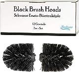 Schwarze Ersatzbürstenköpfe für die Badiano WC-Bürste - 2er-Set - 12mm-Gewinde - neue Bürstenköpfe für unsere WC-Garnituren (Schwarz)