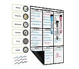 Plan Smart: Magnetischer abwischbarer Wochenplaner im DIN-A3-Format; *Beschriftungen in Deutscher Sprache* Magnettafel, Whiteboard zum Abwischen für den Kühlschrank. Bonus: 3 Marker mit Radierer