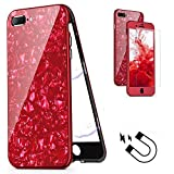 LCHULLE Kristall Abdeckung iPhone 7/8 Plus Slim Hülle, Luxus Schön Galvanisiermuster 360 Voller Schutz Magnetische Adsorption PC Hart Rüstung Schutzhülle, Rot