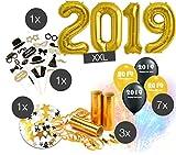 Silvester Party MEGA set 2019 Dekoration Deko - über 100 Teile - Fotorequisiten,Masken, Konfetti, Sterne, gold u. silber Ballons,Riesenballon, Luftschlangen für Neujahr, NEW YEAR / Silvester 2019