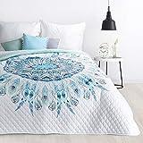 Design91 Tagesdecke Mandala Muster Steppdecke Bettüberwurf Jovana Größe: 200 cm x 220 cm und 170 x 210 cm Modernes Schlafzimmer Design weiß blau (200 x 220 cm)