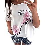 OVERDOSE Frauen Kurzarm Blumen Pumps Gedruckt Tops Strand Beiläufige Lose Bluse Top T-Shirt(Weiß,EU-38/CN-M
