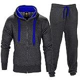 Contrast Schnur Reißverschluss Gebürsteter Fleece Trainingsanzug - Dunkelgrau/Blau, Herren, X-Large