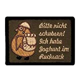 Café Viereck Bitte Nicht Schubsen Ich Habe Joghurt im Rucksack Fun Patch mit Klett Pinguin mit Helm und Stiefeln