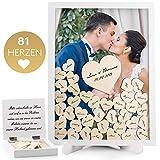 Fairytale Wedding © Gästebuch Hochzeit in schönem Holzrahmen - Hochzeitsgästebuch inkl. Herzen aus Holz - Bilderrahmen zum Befüllen mit Holzherzen