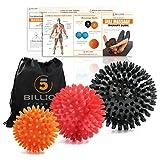 5BILLION Massagebälle - Mobility Bälle & Lacrosse Bälle für die Physiotherapie - Hochdichte Massagegerät für Deep Tissue, Myofascial Release, Muskel Entspannung, Accupoint Massage - 2er Set (3 Spiky Bälle)