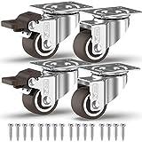 GBL - 4 Möbelrollen und Schrauben 25mm Transportroller Lenkrollen mit Bremse Schwerlastrollen Rollen für Möbel … (25mm)