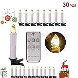 Forever Speed 20/30/40/50/60er LED Lichterkette Kabellos Weihnachtskerzen Christbaumschmuck Weihnachtsbaumbeleuchtung 30*weisse Hülle