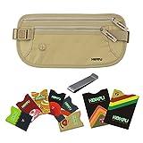 Homfu RFID Geldgürtel für Travel Brieftasche mit 6 x Kreditkarte Protector und 2 x Passport Beutelhalter Waterpoof Secure RFID-Blocker Taille Pack Stash für Frauen Männer Sport